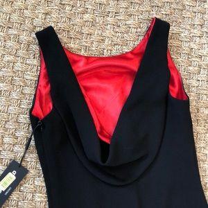 Karl Lagerfeld Satin Draped Back Black Dress 4 NWT
